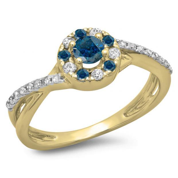 0.50 Carat (ctw) 10K Yellow Gold Round Cut Blue & White Diamond Ladies Swirl Split Shank Bridal Halo Engagement Ring 1/2 CT