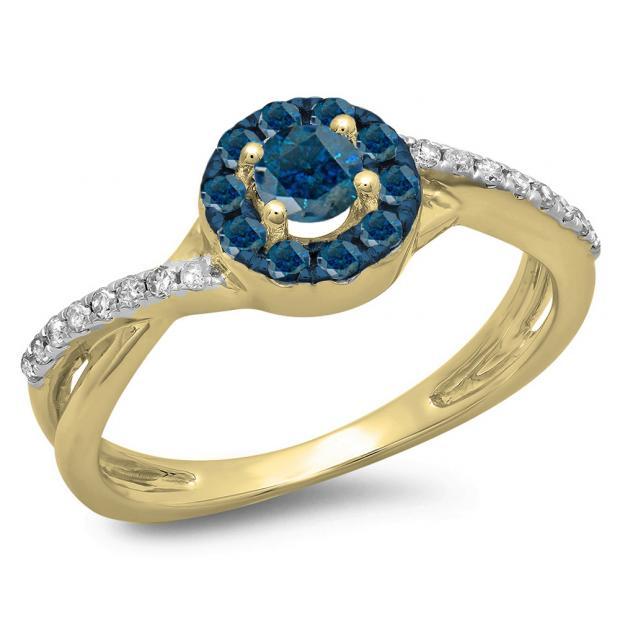 0.50 Carat (ctw) 14K Yellow Gold Round Cut Blue & White Diamond Ladies Swirl Split Shank Bridal Halo Engagement Ring 1/2 CT