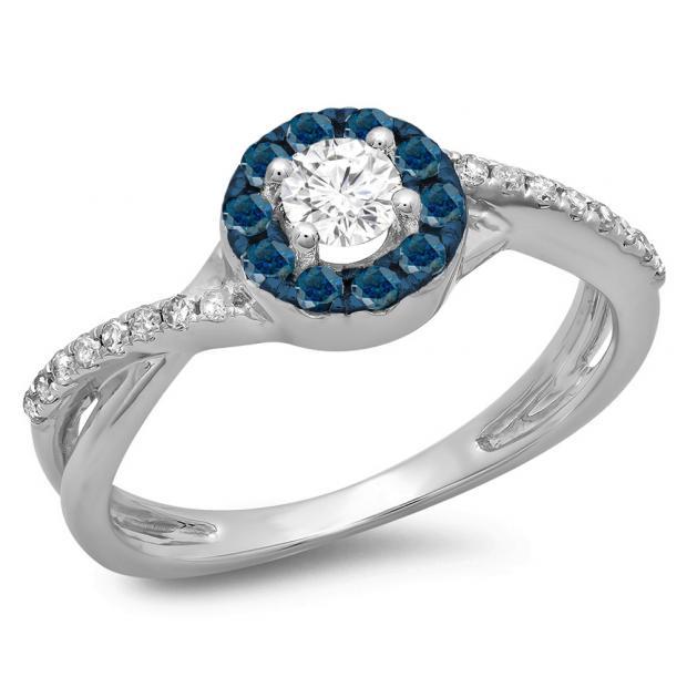0.50 Carat (ctw) 14K White Gold Round Cut Blue & White Diamond Ladies Swirl Split Shank Bridal Halo Engagement Ring 1/2 CT