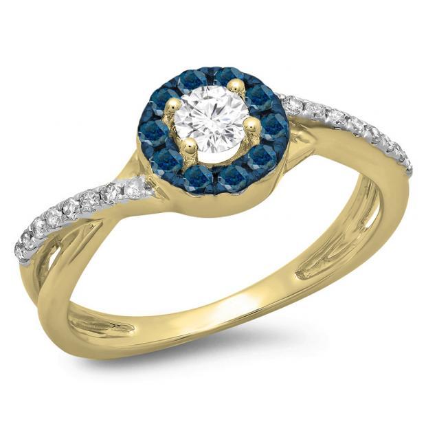 0.50 Carat (ctw) 18K Yellow Gold Round Cut Blue & White Diamond Ladies Swirl Split Shank Bridal Halo Engagement Ring 1/2 CT