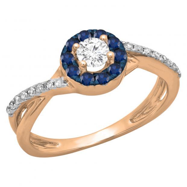 0.50 Carat (ctw) 10K Rose Gold Round Cut Blue Sapphire & White Diamond Ladies Swirl Split Shank Bridal Halo Engagement Ring 1/2 CT