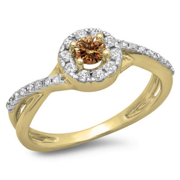 0.50 Carat (ctw) 14K Yellow Gold Round Cut Champagne & White Diamond Ladies Swirl Split Shank Bridal Halo Engagement Ring 1/2 CT