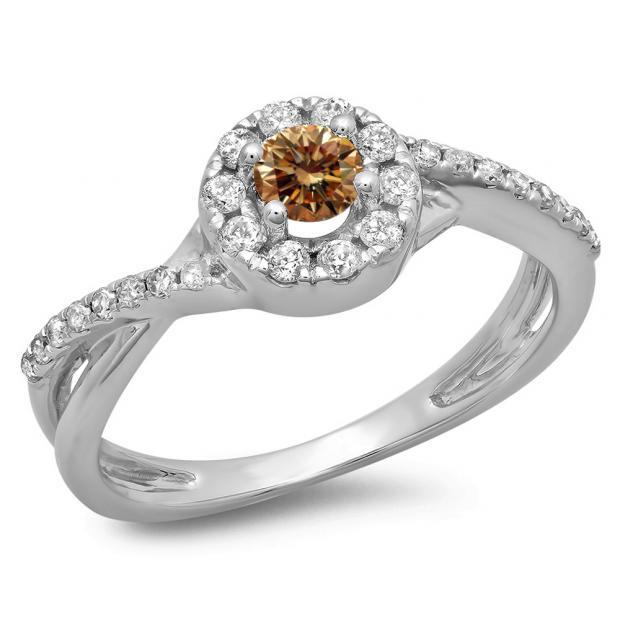 0.50 Carat (ctw) 18K White Gold Round Cut Champagne & White Diamond Ladies Swirl Split Shank Bridal Halo Engagement Ring 1/2 CT