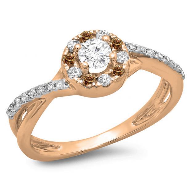 0.50 Carat (ctw) 10K Rose Gold Round Cut Champagne & White Diamond Ladies Swirl Split Shank Bridal Halo Engagement Ring 1/2 CT