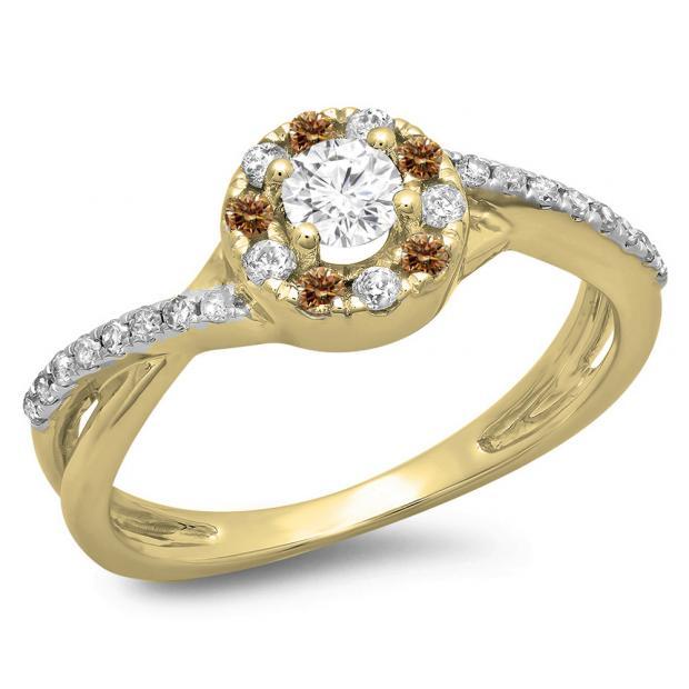 0.50 Carat (ctw) 10K Yellow Gold Round Cut Champagne & White Diamond Ladies Swirl Split Shank Bridal Halo Engagement Ring 1/2 CT