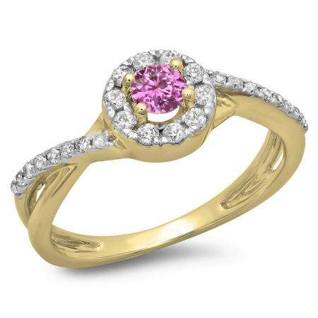 0.50 Carat (ctw) 18K Yellow Gold Round Cut Pink Sapphire & White Diamond Ladies Swirl Split Shank Bridal Halo Engagement Ring 1/2 CT