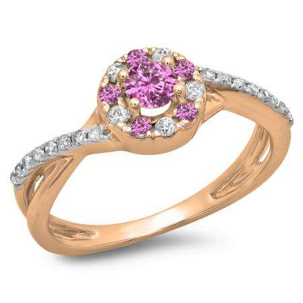 0.50 Carat (ctw) 18K Rose Gold Round Cut Pink Sapphire & White Diamond Ladies Swirl Split Shank Bridal Halo Engagement Ring 1/2 CT