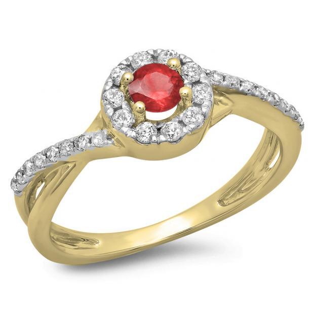 0.50 Carat (ctw) 18K Yellow Gold Round Cut Ruby & White Diamond Ladies Swirl Split Shank Bridal Halo Engagement Ring 1/2 CT