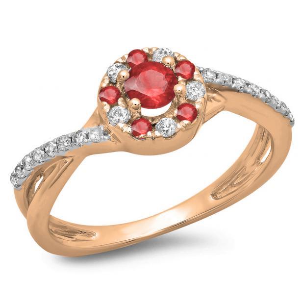 0.50 Carat (ctw) 14K Rose Gold Round Cut Ruby & White Diamond Ladies Swirl Split Shank Bridal Halo Engagement Ring 1/2 CT