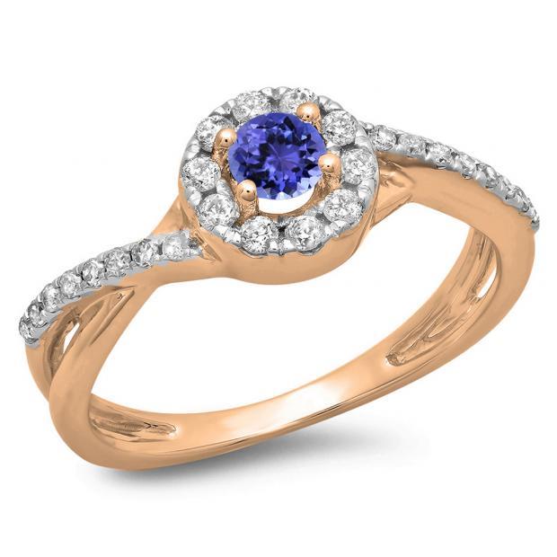 0.50 Carat (ctw) 14K Rose Gold Round Cut Tanzanite & White Diamond Ladies Swirl Split Shank Bridal Halo Engagement Ring 1/2 CT