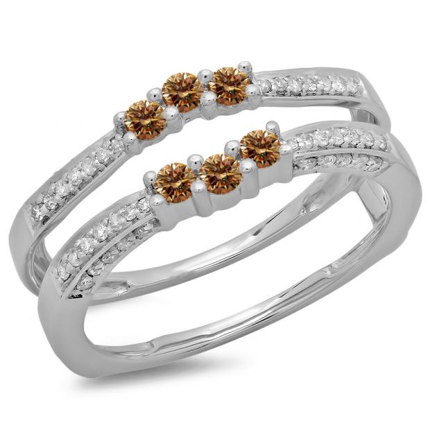 0.50 Carat (ctw) 18K White Gold Round Cut Champagne & White Diamond Ladies Anniversary Wedding Band Enhancer Guard Double Ring 1/2 CT