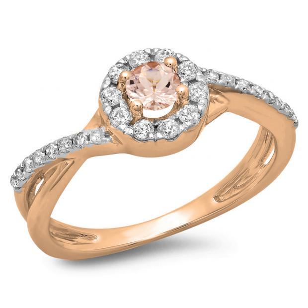 0.50 CT 18K Rose Gold Round Cut Morganite & White Diamond Ladies Swirl Split Shank Bridal Halo Engagement Ring