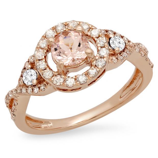 0.90 Carat (ctw) 14K Rose Gold Round Morganite & White Diamond Ladies 3 Stone Swirl Halo Vintage Bridal Engagement Ring