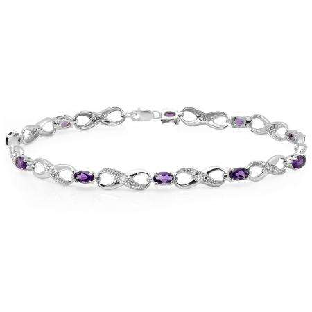 2.26 Carat (ctw) 14K White Gold Real Oval Cut Amethyst & Round Cut White Diamond Ladies Infinity Link Tennis Bracelet