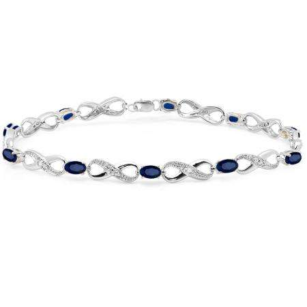 2.27 Carat (ctw) 10K White Gold Real Oval Cut Blue Sapphire & Round Cut White Diamond Ladies Infinity Link Tennis Bracelet