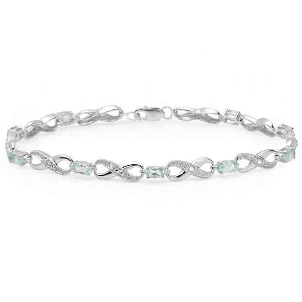 2.89 Carat (ctw) 10K White Gold Real Oval Cut Blue Topaz & Round Cut White Diamond Ladies Infinity Link Tennis Bracelet