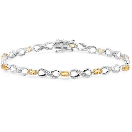 2.27 Carat (ctw) 14K White Gold Real Oval Cut Citrine & Round Cut White Diamond Ladies Infinity Link Tennis Bracelet