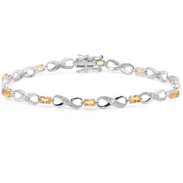 2.27 Carat (ctw) 18K White Gold Real Oval Cut Citrine & Round Cut White Diamond Ladies Infinity Link Tennis Bracelet