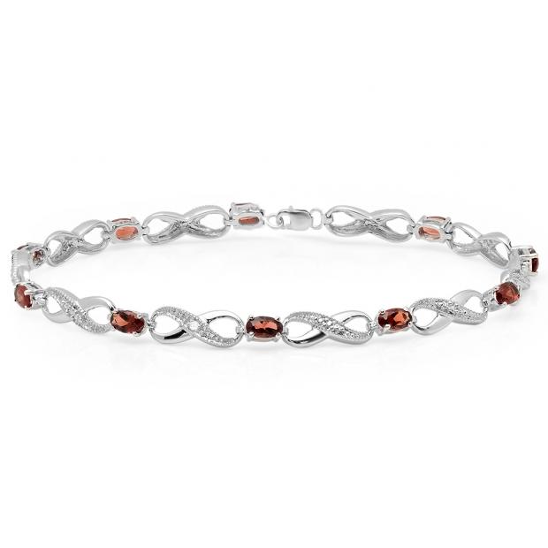2.70 Carat (ctw) 10K White Gold Real Oval Cut Garnet & Round Cut White Diamond Ladies Infinity Link Tennis Bracelet