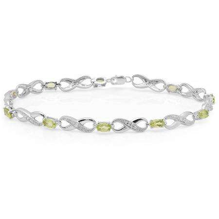 2.38 Carat (ctw) 14K White Gold Real Oval Cut Peridot & Round Cut White Diamond Ladies Infinity Link Tennis Bracelet