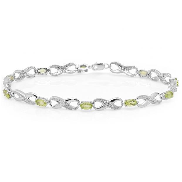 2.38 Carat (ctw) 18K White Gold Real Oval Cut Peridot & Round Cut White Diamond Ladies Infinity Link Tennis Bracelet