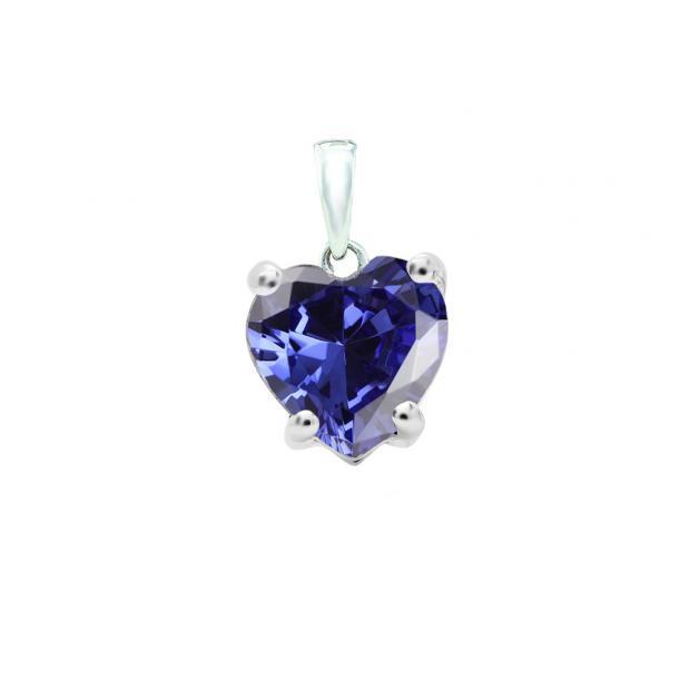 0.65 Carat (ctw) 18K White Gold Heart Cut Tanzanite Ladies Heart Shaped Pendant