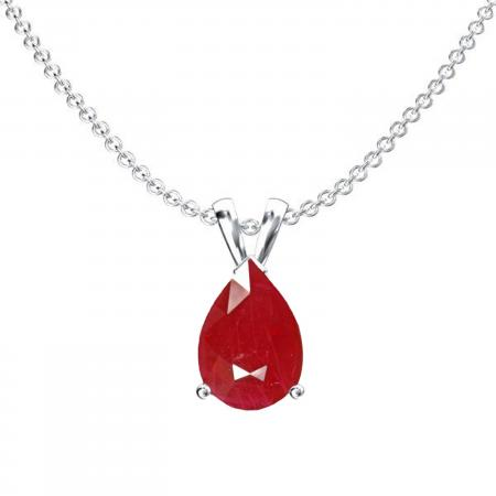 1.00 Carat (ctw) Sterling Silver Pear Cut Ruby Ladies Solitaire Pendant (Chain Included) 1 CT