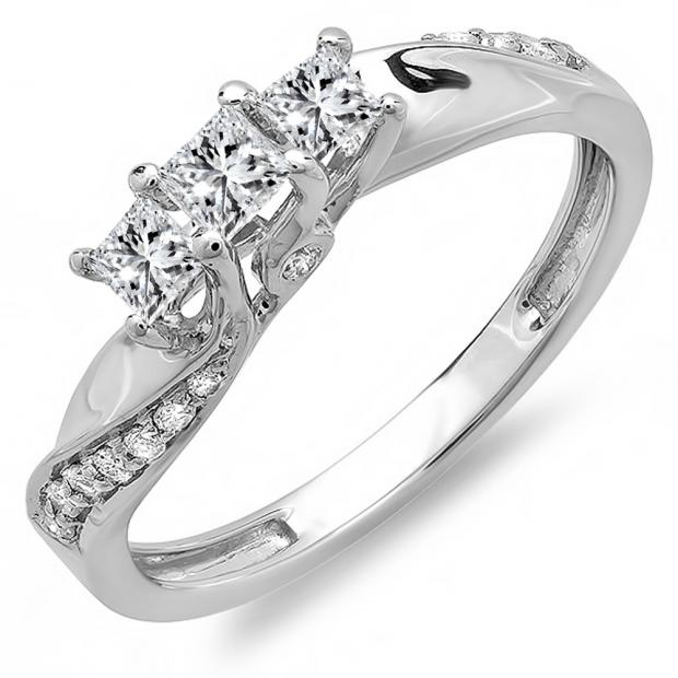 0.50 Carat (ctw) 10k White Gold Princess and Round Diamond Ladies 3 Stone Swirl Engagement Bridal Ring 1/2 CT