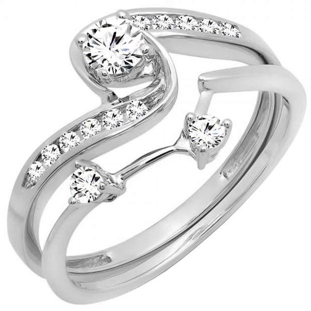 0.50 Carat (ctw) 10k White Gold Round Diamond Ladies Swirl Bridal Engagement Ring Matching Band Set 1/2 CT