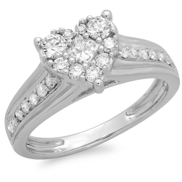 0.70 Carat (ctw) 10K White Gold Princess & Round Diamond Ladies Bridal Heart Shaped Promise Engagement Ring 3/4 CT