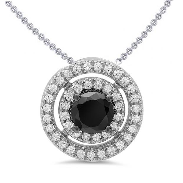 1.20 Carat (ctw) 14K White Gold Round Cut White & Black Cubic Zirconia Ladies Halo Pendant