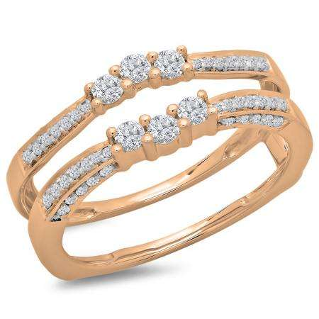 0.50 Carat (ctw) 10K Rose Gold Round Cut Diamond Ladies Anniversary Wedding Band Enhancer Guard Double Ring 1/2 CT