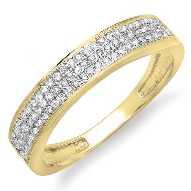 0.15 Carat (ctw) 14K Yellow Gold Round Cut Diamond Ladies Anniversary Wedding Band