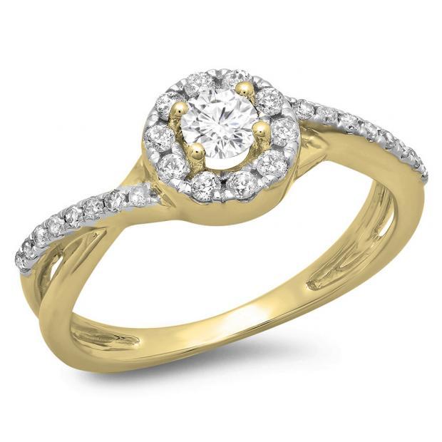 0.50 Carat (ctw) 10K Yellow Gold Round Cut Diamond Ladies Swirl Split Shank Bridal Halo Engagement Ring 1/2 CT