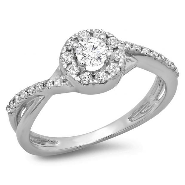0.50 Carat (ctw) 18K White Gold Round Cut Diamond Ladies Swirl Split Shank Bridal Halo Engagement Ring 1/2 CT
