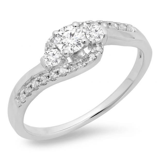 0.50 Carat (ctw) 10K White Gold Round Cut Diamond Ladies Bridal Bypass Swirl 3 Stone Engagement Ring 1/2 CT