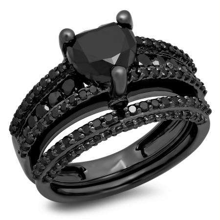 2.30 Carat (ctw) Black Rhodium Plated Sterling Silver Round & Heart Cut Black Diamond Ladies Bridal Vintage Heart Shaped Engagement Ring With Matching Band Set