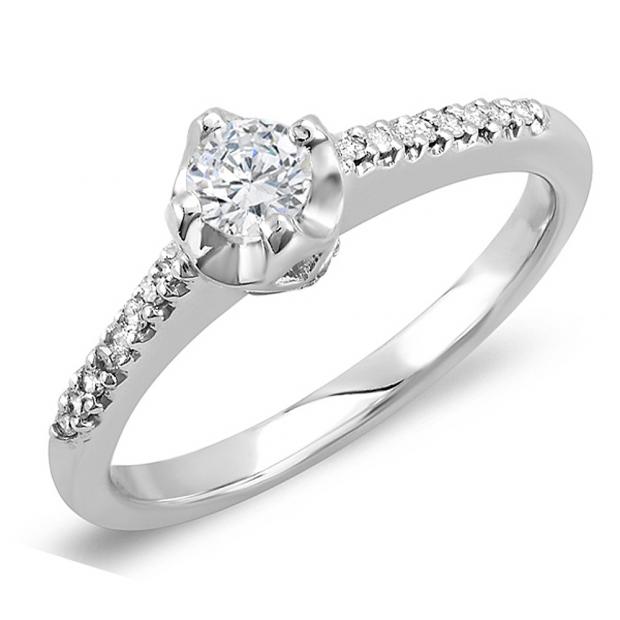 0.33 Carat (ctw) 14K White Gold Engagement Round Diamond Bridal Promise Ring