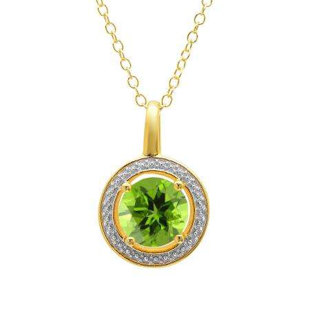 1.80 Carat (ctw) Yellow Gold Plated Sterling Silver Round Cut Lemon Quartz Ladies Solitaire Pendant With 18 Inch Link Chain