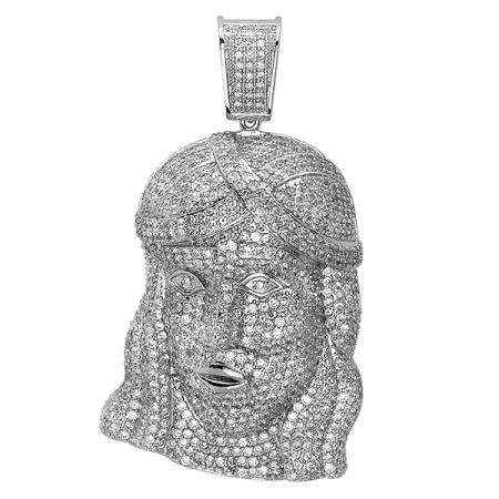 Platinum Plated Micro Pave White CZ Cubic Zirconia Iced Mens Religous Face Pendant (1.75 Inch Wide 3.00 Inch Long)