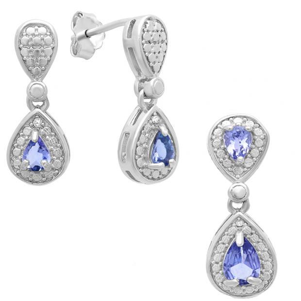 Sterling Silver Pear Cut Tanzanite & Round White Diamond Accent Ladies Dangling Drop Earrings & Pendant Set