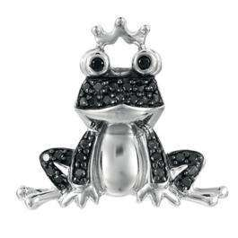 0.25 Carat (ctw) Sterling Silver Round Black Diamond Frog Charm Ladies Pendant 1/4 CT