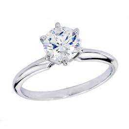 Certified 1.04 Carat (ctw) 14K White Gold Real Round Diamond Ladies Engagement Solitaire Ring