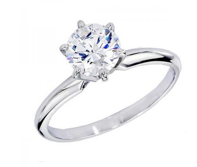 Certified 0.50 Carat (ctw) 14K White Gold Real Round Diamond Ladies Engagement Solitaire Ring