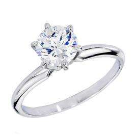 Certified 1.01 Carat (ctw) 14K White Gold Real Round Diamond Ladies Engagement Solitaire Ring 1 CT