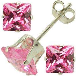 Sterling Silver 4mm Pink Diamond CZ Cubic Zirconia Square Stud Earrings