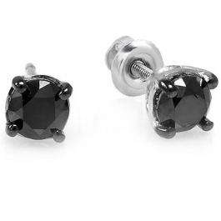 0.25 Carat (ctw) 10k White Gold Ladies Round Black Diamond Stud Earrings 3.5 mm wide 1/4 CT