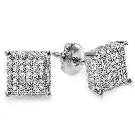 0.50 Carat (ctw) Sterling Silver White Real Diamond Ice Cube Dice Shape Mens Hip Hop Iced Stud Earrings 1/2 CT