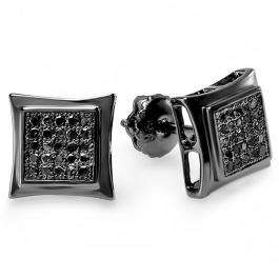 0.15 Carat (ctw) Black Rhodium Plated Sterling Silver Black Real Diamond Kite Shape Mens Hip Hop Iced Stud Earrings