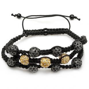 Shamballa Bracelet Pave Mens Ladies Unisex Hip Hop Style 12 mm Eight Black & Three Yellow Disco Ball Bead Three Row Adjustable